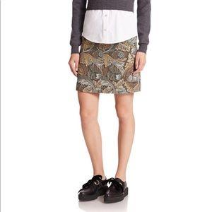 Marc Jacobs Acanthus Army Cotton A-Line Skirt SZ 0